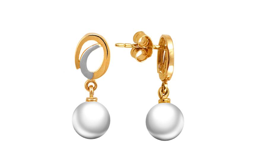 Zlaté náušnice s Biwa perlou PE187