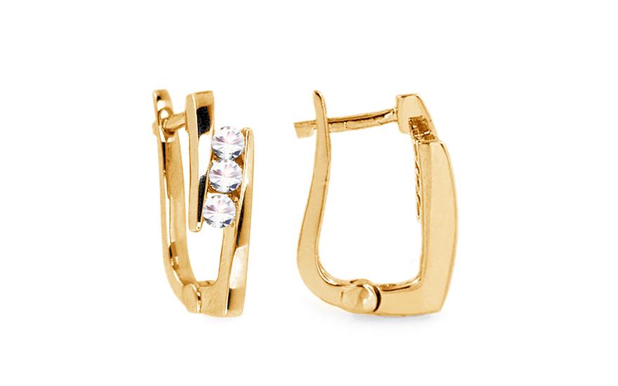 Zlaté náušnice s brilianty KU220NY