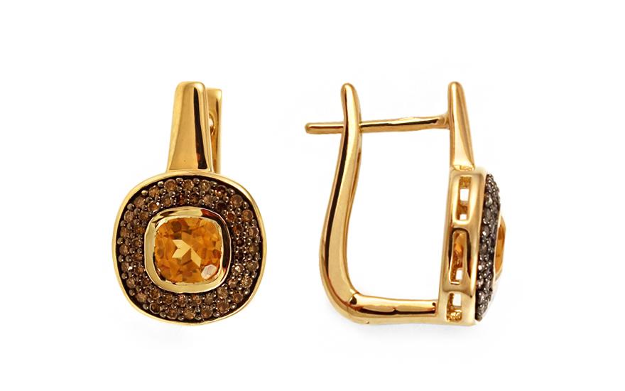 Zlaté náušnice s citrínem a brilianty KU371N