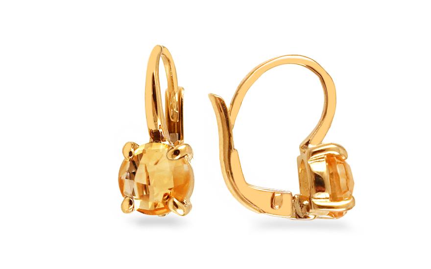 Zlaté náušnice s citrínem Aquila IZ12390N