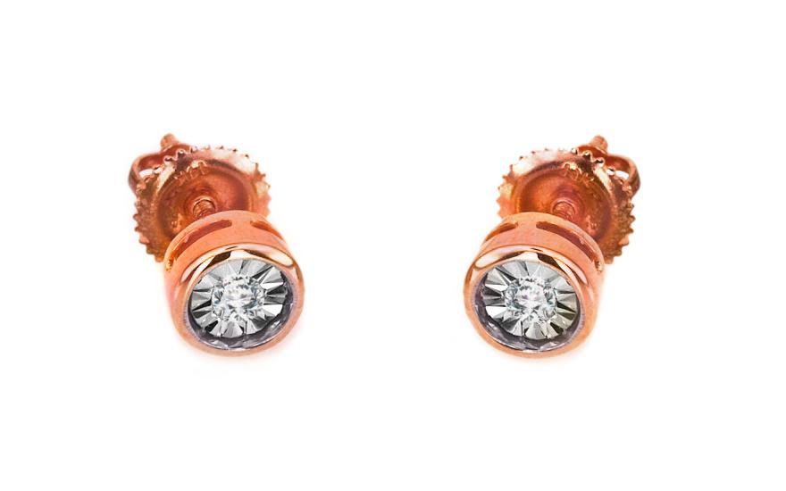Zlaté náušnice s diamanty 0,050 ct Mariya 6 rose KU0072RN