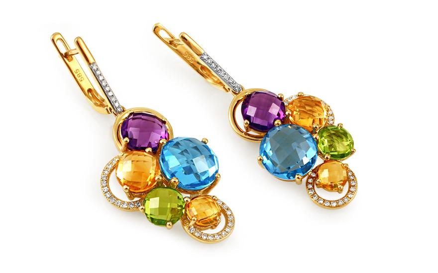 Zlaté náušnice s diamanty a drahými kameny Dayana IZBR283N