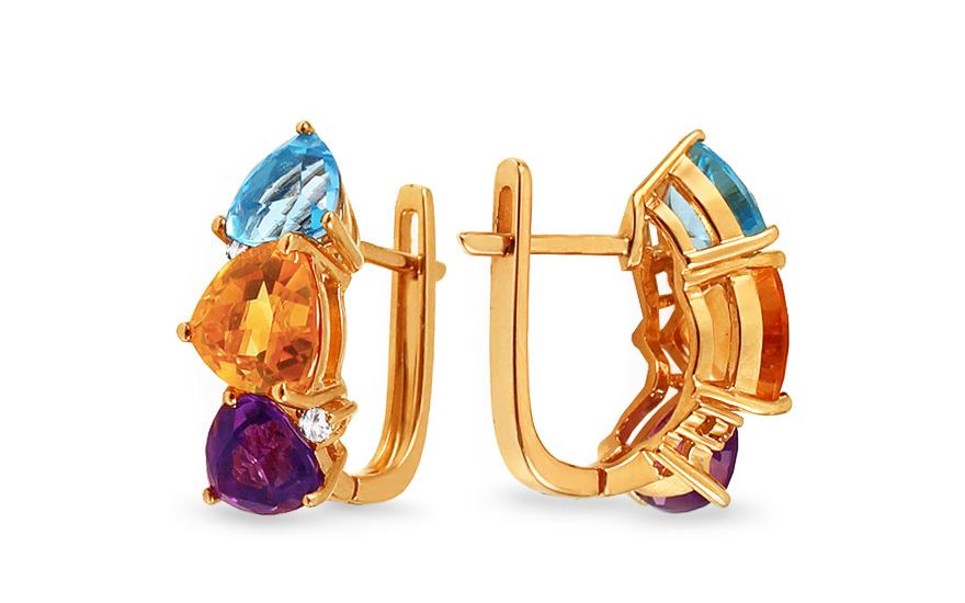 Zlaté náušnice s drahými kameny a diamanty 0,070 ct Timmie IZBR491N