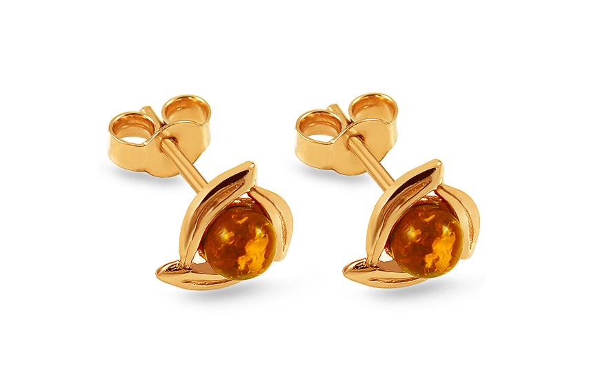 Zlaté náušnice s jantarem f1ac056e19c