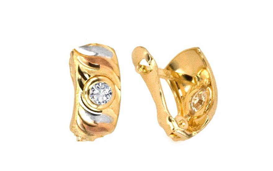 Zlaté náušnice s kamínkem vícebarevné IZ4657