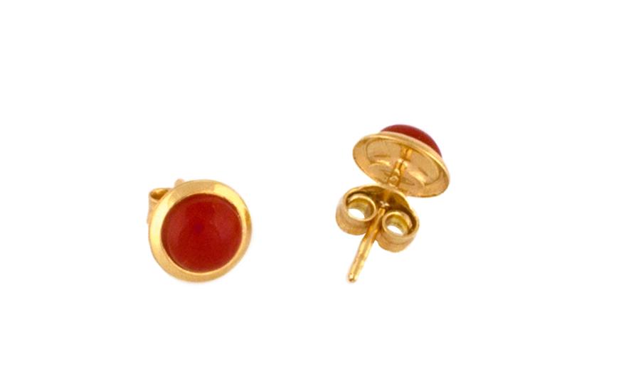 Zlaté kulaté náušnice s naturálním korálem IZ7590