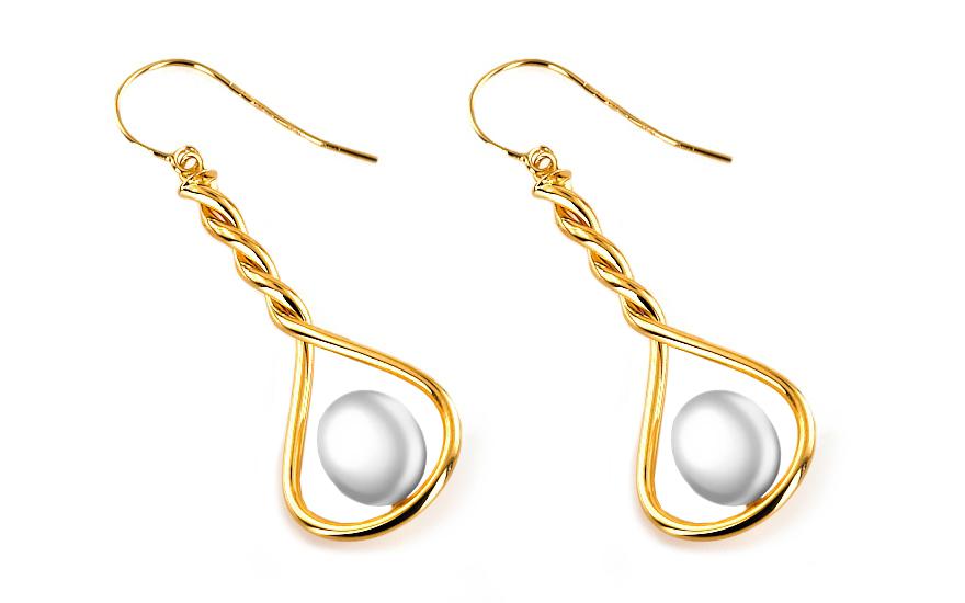 Zlaté náušnice s perlou 7 mm Charlotte 2 IZ6196