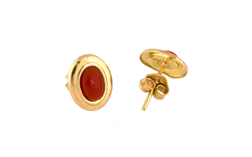 Zlaté oválny náušnice s léčivým korálem IZ7593