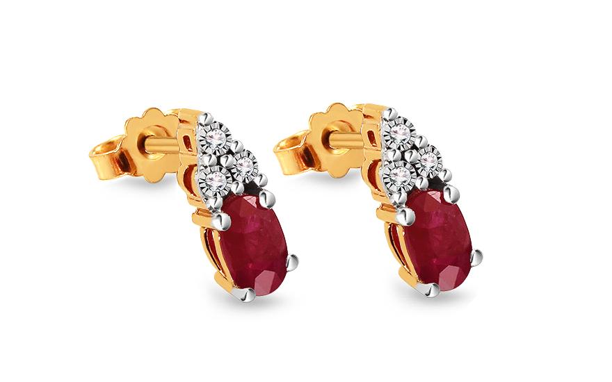 Zlaté náušnice s rubínem a diamanty 0.020 ct 4c38e56c820