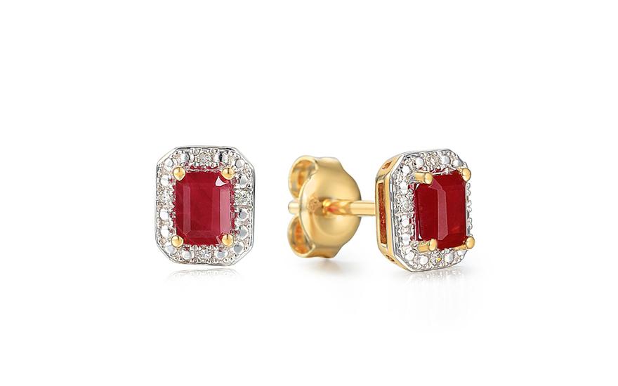 Zlaté náušnice s rubínem a diamanty 0.020 ct Madalen cea53724d6a