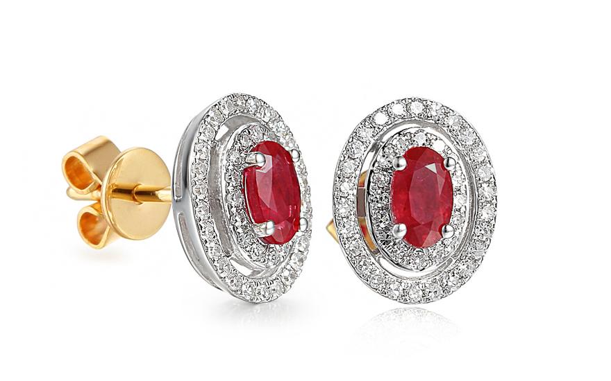 Zlaté náušnice s rubínem a diamanty 0.250 ct Christel 3 2281a0128fa