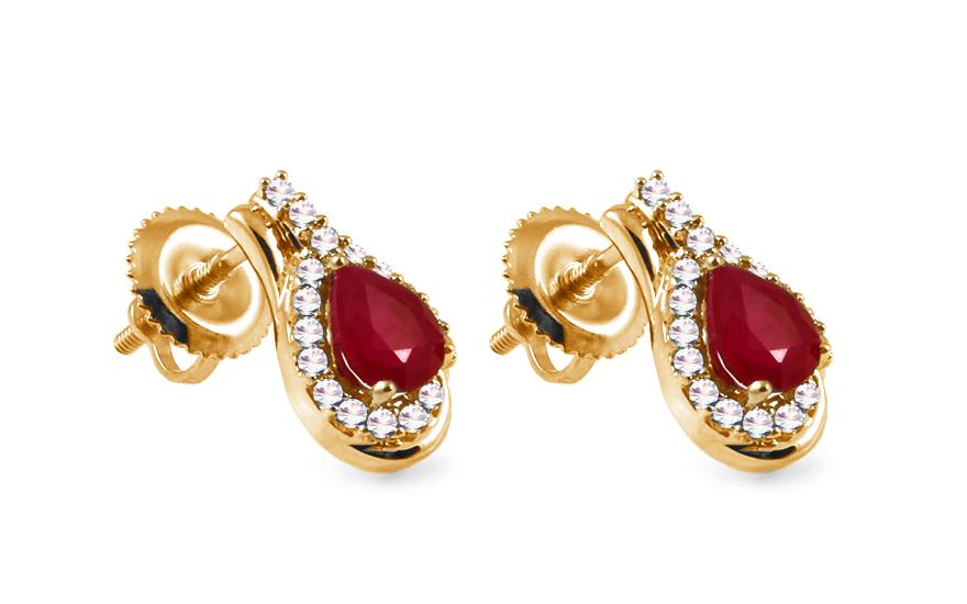 Zlaté náušnice s rubíny a brilianty KU299NY