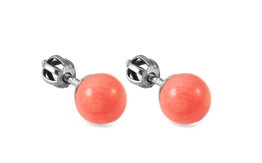 Zlaté náušnice s růžovým korálem Balls IZ9111NAK