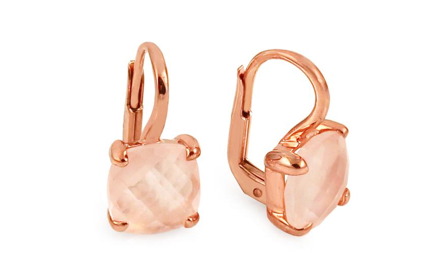 Zlaté náušnice s růžovým quartzitem Adeline IZ6276