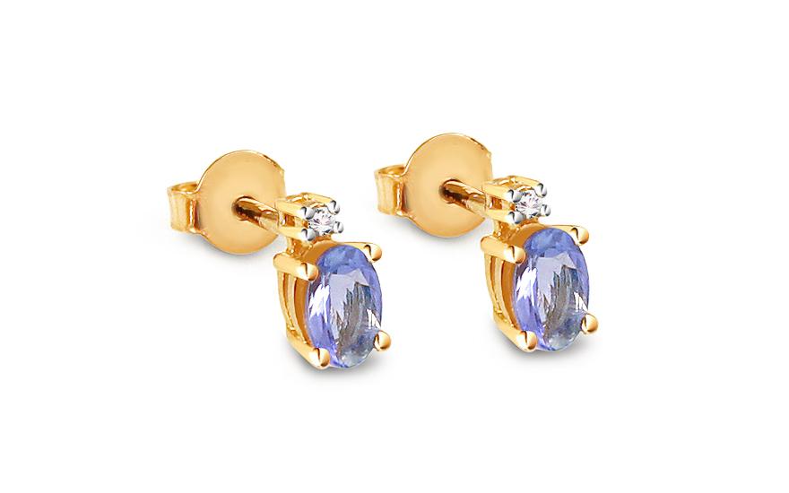 Zlaté náušnice s tanzanitem a diamantem 0,030 ct Aurea BSBR037TN