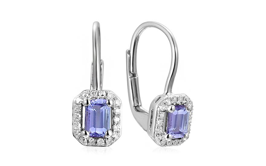 a55cfd1d4 Zlaté náušnice s tanzanitem a diamanty 0,110 ct Gwen, pro ženy ...