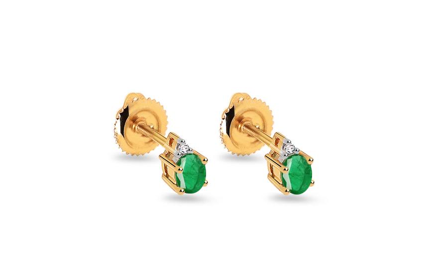 Zlaté náušnice se smaragdem a diamanty 0,020 ct Gennie 2 KU657EM