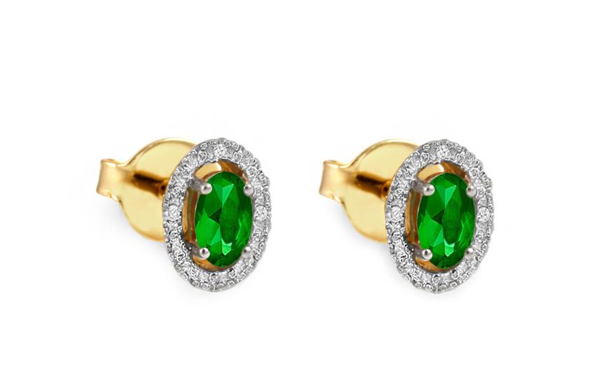 Zlaté náušnice se smaragdy a brilianty KU370N
