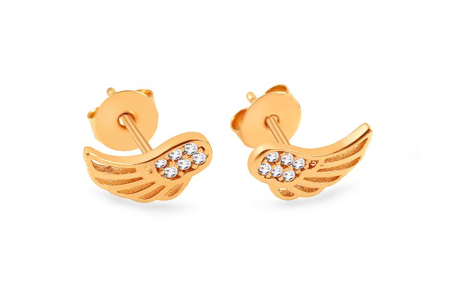 Zlaté náušnice se zirkony andělská křídla IZ13975