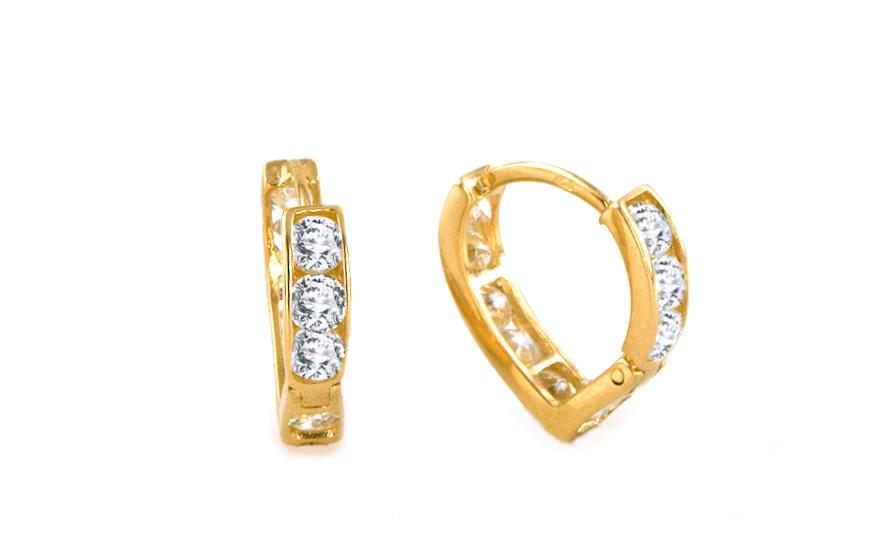 Zlaté náušnice srdíčka s kamínky IZ6515