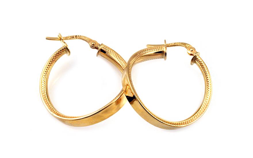 Zlaté náušnice točené kroužky s gravírováním 2,4 cm IZ10315