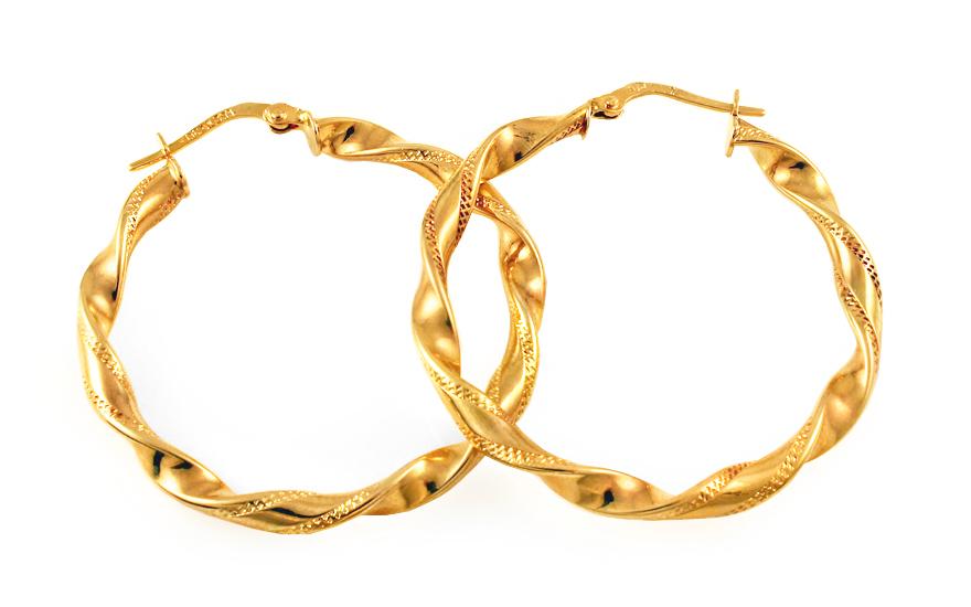 Zlaté náušnice točené kruhy IZ9318