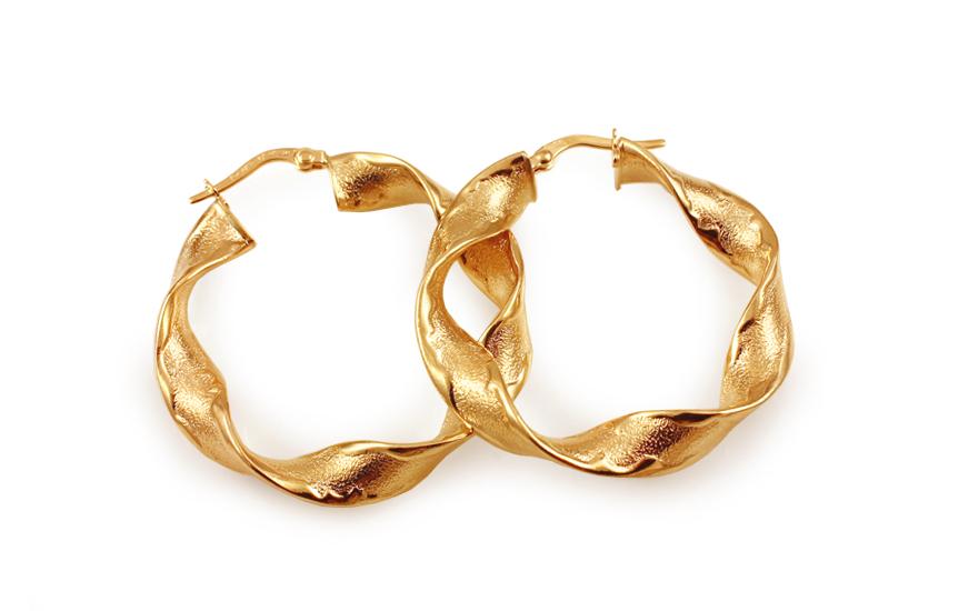 Zlaté náušnice točené kruhy 3,5 cm IZ10305