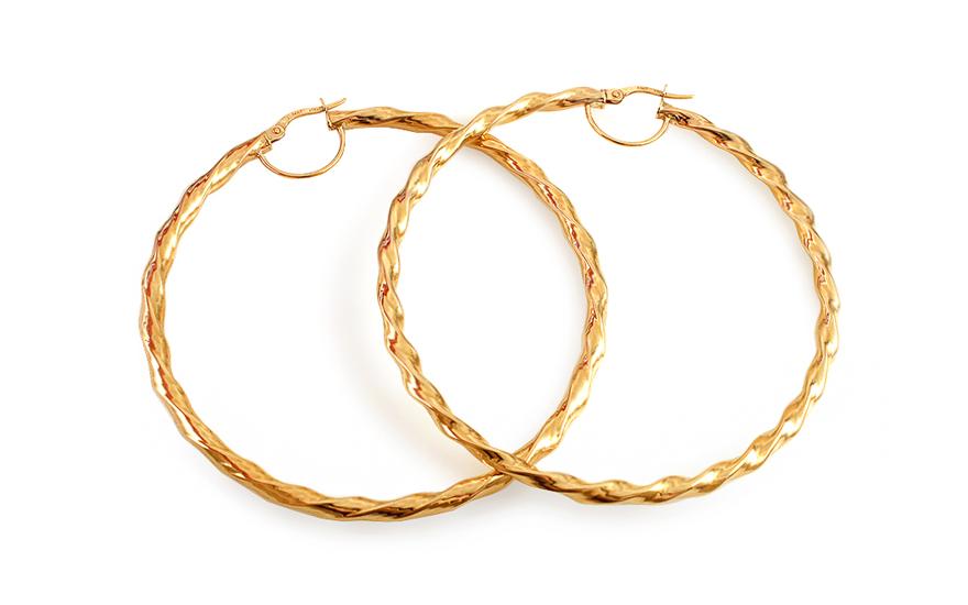Zlaté náušnice točené kruhy 5,6 cm IZ12771