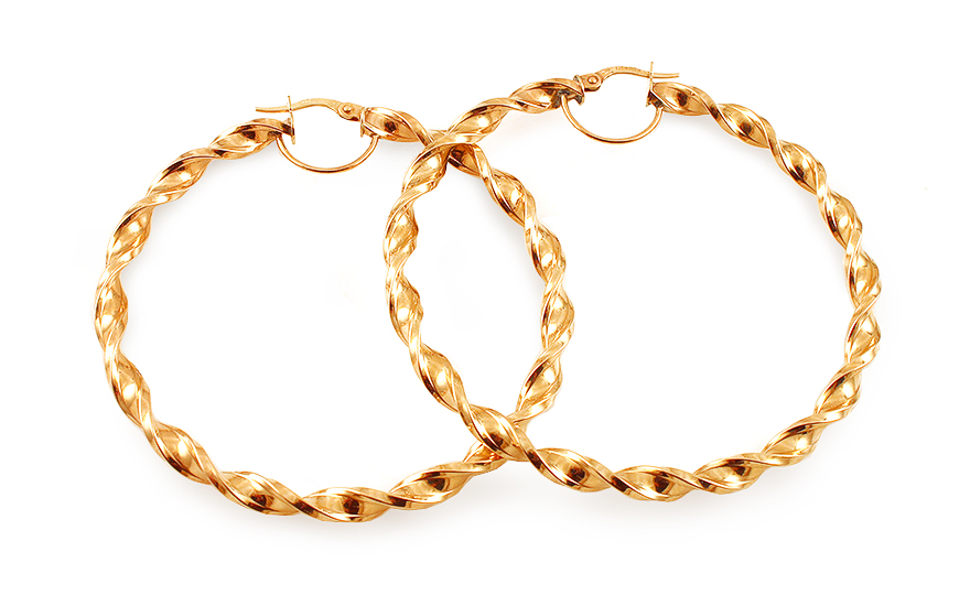 Zlaté náušnice točené kruhy 5,8 cm IZ12961