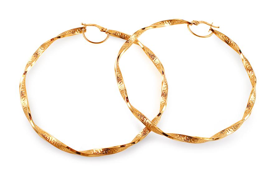 Zlaté náušnice točené kruhy s antickým vzorem 6,7 cm IZ12962
