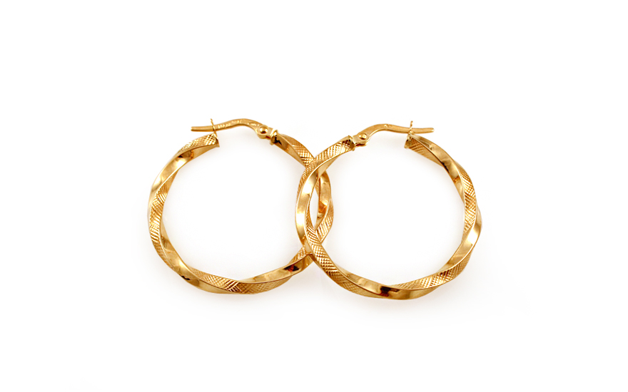 Zlaté náušnice točené kruhy s gravírováním 2,9 cm IZ10281