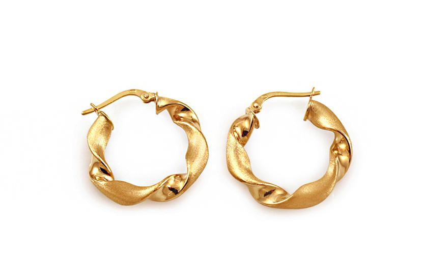 Zlaté náušnice točené kruhy s matováním 2,3 cm IZ10213