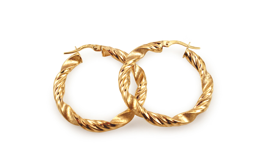 Zlaté náušnice točené kruhy s matováním 3,2 cm IZ10306