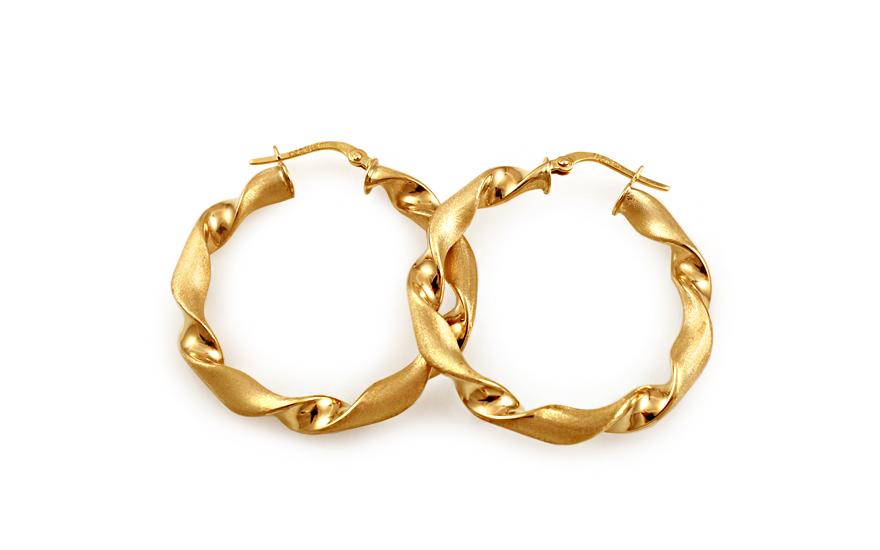 Zlaté náušnice točené kruhy s matováním 3,5 cm IZ10214