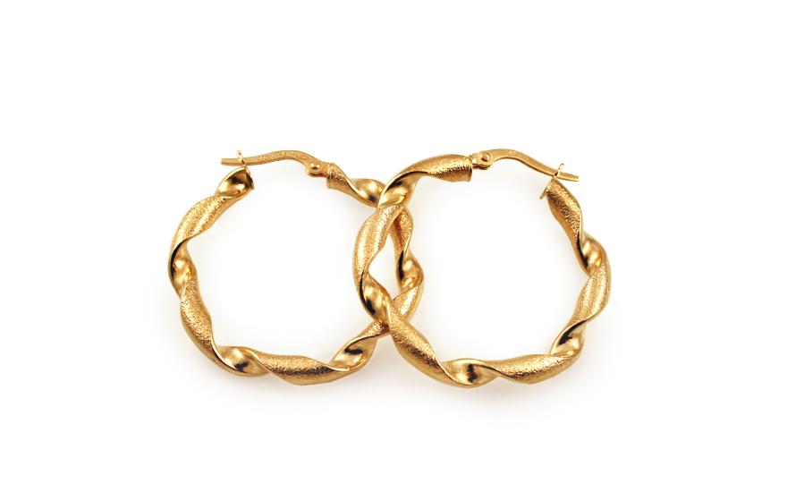 Zlaté náušnice točené kruhy s pískováním 3 cm IZ10215M