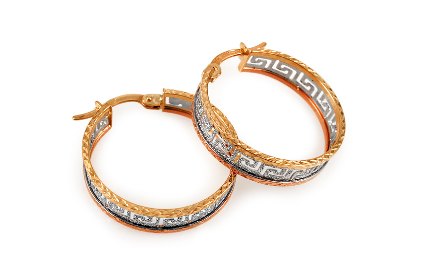 Zlaté náušnice tříbarevné kruhy 2,2 cm IZ9362