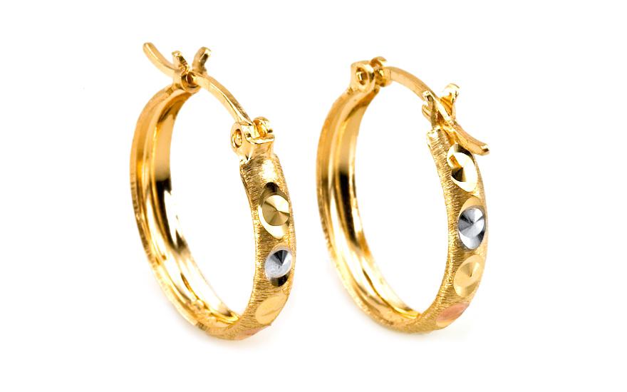 Zlaté náušnice tříbarevné kruhy 2 cm IZ5781