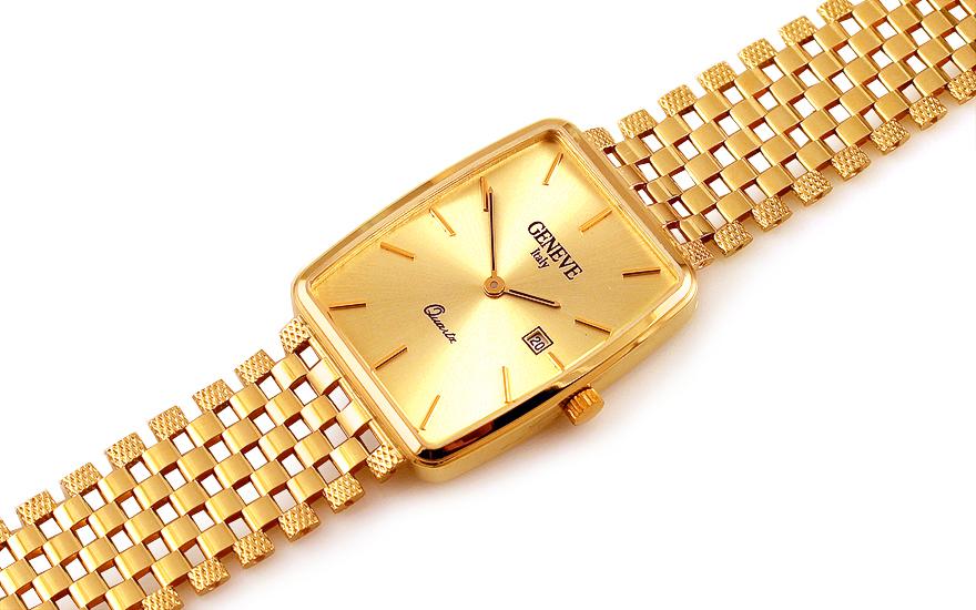Zlaté pánské hodinky Geneve 16b399b2305