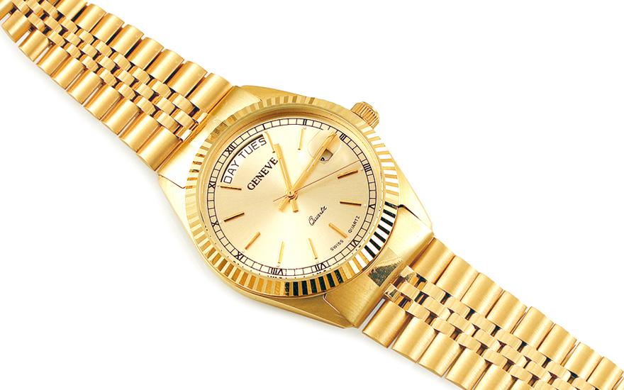 Zlaté pánské hodinky Geneve IZ14444