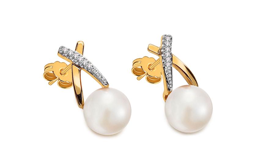 Zlaté perlové náušnice s diamanty KU462YN