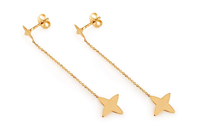 Zlaté řetízkové náušnice hvězdy IZ11580