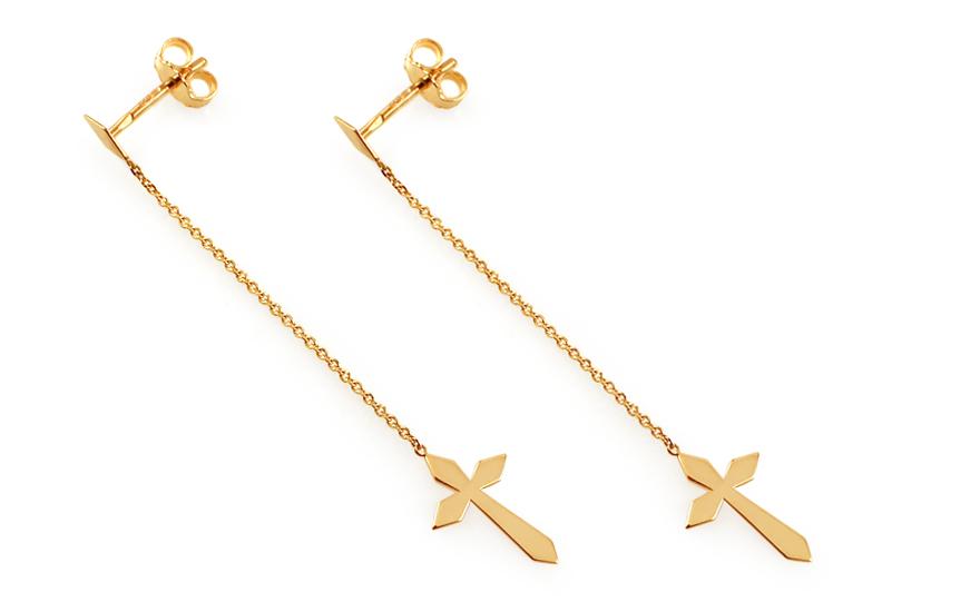 Zlaté řetízkové náušnice s křížky IZ11578
