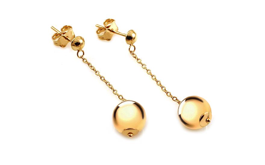 Zlaté řetízkové náušnice s kuličkami IZ11799