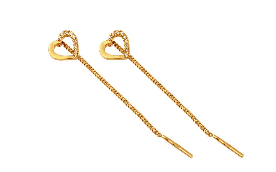 Zlaté řetízkové náušnice se zirkonovými srdíčky IZ10158