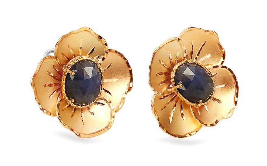Zlaté safírové náušnice květiny IZ5733YZ