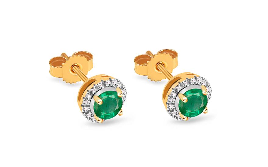 Zlaté smaragdové náušnice s brilianty 0 9dbda71107a