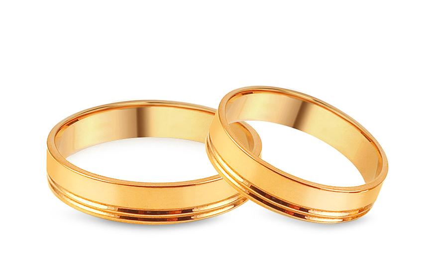 Zlaté snubní prstýnky ploché s drážkami, šířka 4 mm IZOB065