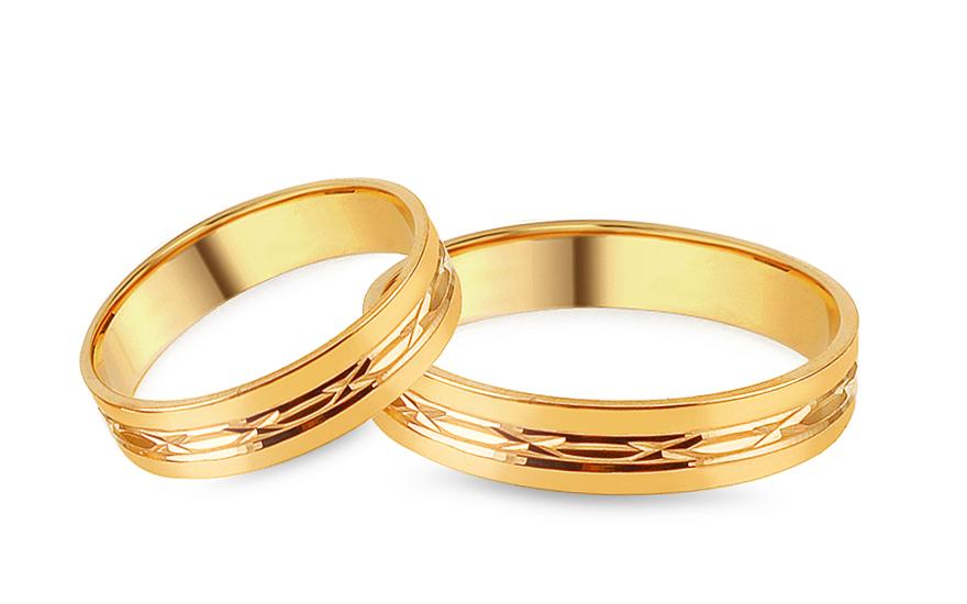 Zlaté snubní prstýnky s gravírovaným vzorem, šířka 4 mm IZOB137
