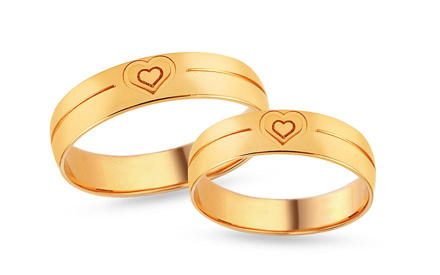 Zlaté snubní prstýnky se srdíčkem, šířka 5 mm IZOB640Y