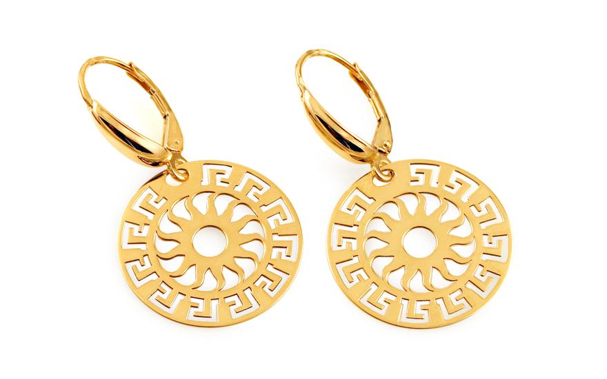 Zlaté visací náušnice s antickým vzorem IZ11515